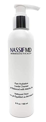 NassifMD Pure Hydration Facial Cleanser - Antioxidant Rich Vegan Face Wash Infused with Matcha Tea to Calm Soothe and Hydrate Face, Contains Vitamin C to Help Rejuvenate Skin (6 fl oz)