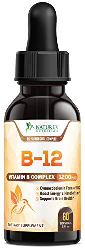 B12 Vitamin Sublingual Liquid Drops for Metabolism and Energy, Made in USA, Max Absorption B-12 Vitamins Supplement, Non-GMO, Sugar Free, Gltuen Free - Supports Energy and Natural Weight - 2 oz