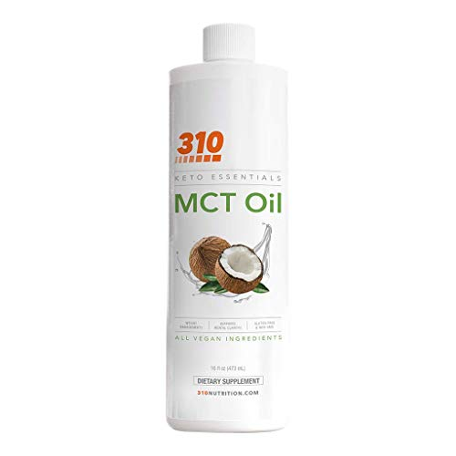 MCT Oil Organic, Keto, and Paleo Friendly by 310 Nutrition | Pure MCT Oil Made from Coconut Oil | Quick and Reliable Source for a Natural Energy Boost (16 oz)
