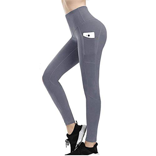 High Waisted Leggings for Women, Weight Loss Hot Sauna Sweat Pants, Fit Compression Yoga Pants Power Stretch Workout Leggings with High Waist Tummy Control (Gray, S)