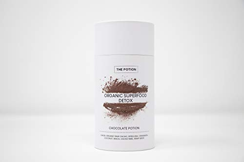 The Potion Chocolate Superfood Detox Powder – 100% Organic Superfood Powder – Carob, Raw Organic Cacao Powder, Coconut, Cinnamon Spirulina, Maca - Satisfy Cravings, Reduce Stress, Detox – 30 Servings