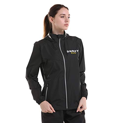 DNRZY F.I.T Black Sauna Sweat Jacket Weight Loss for Men and Women, Long Sleeve Loose-Fitting Fitness Gym Exercise Workout Clothes Hooded Jacket ONLY (No Pants, 3XL)