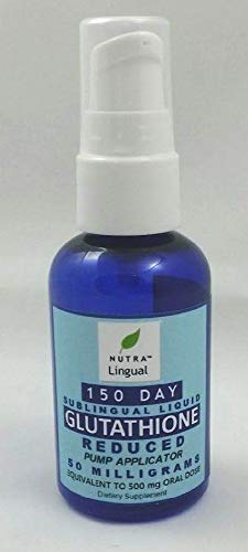 Glutathione Reduced 50 mg (Equivalent to 500 mg Oral Dose) 150 Day Sublingual Liquid Supplement by NUTRA Lingual () for Maximum Absorption