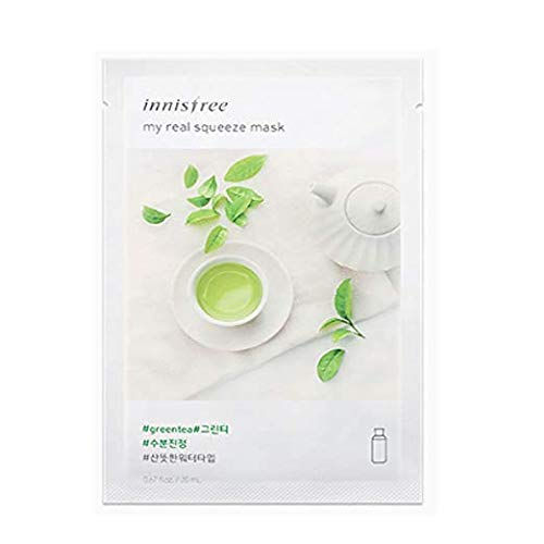 Innisfree My Real Squeeze Mask Sheet 18 types 20m x 5 pcs ' New products launched in September 2017 ' (4. Green tea)