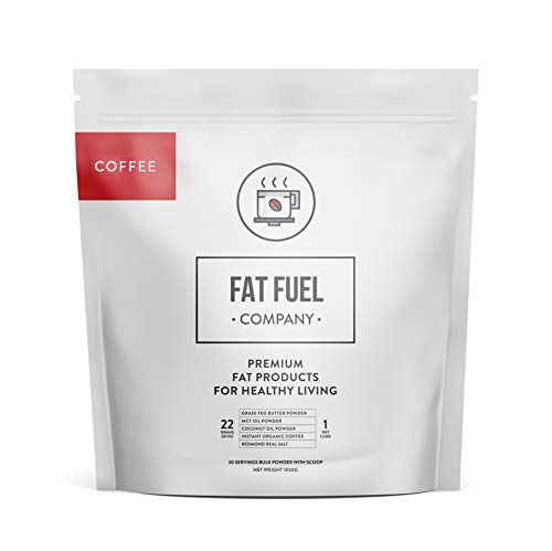 Fat Fuel Keto Coffee Mix – Low-Carb Protein Powder with MCT Oil, Coconut Oil, Grass-Fed Butter Powder and Himalayan Salt – Boost Energy and Focus to Reach Your Weight Loss Goals (30 Serving Bulk Pack)