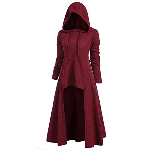 FEISI22㉿ Womens Renaissance Costumes Hooded Robe Lace Up Vintage Pullover Plus Size High Low Long Hoodie Dress Cloak