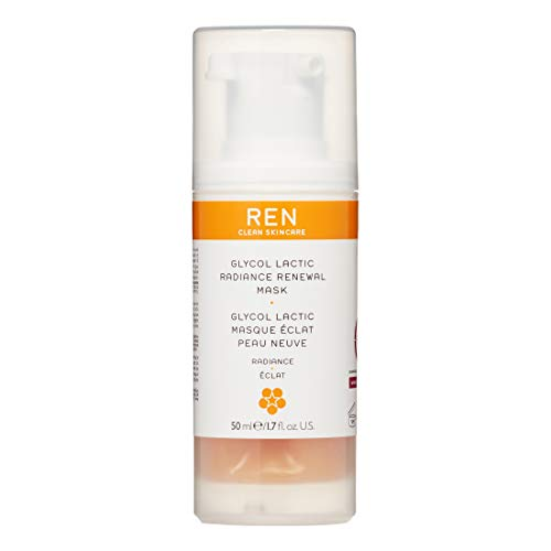 REN Clean Skincare Glycol Lactic Radiance Renewal Mask (1.7 Fl Oz) Exfoliating Face Mask with AHA to Even Skin Tone & Reduce Appearance of Fine Lines & Wrinkles