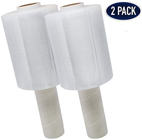 2 Pack Industrial Strength Mini Hand Stretch Wrap 5' - 1000 Roll   80 Gauge Thick Clear Cling Plastic Moving Supplies   Durable Self - Adhering  Packing  Pallet  Furniture  Heavy Duty Shrink Film