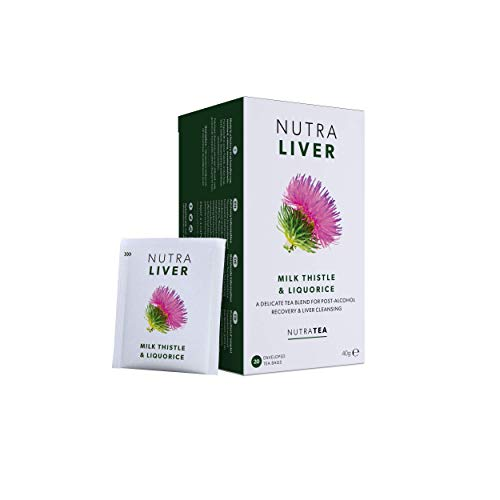 NUTRALIVER - Liver Detox Tea   Liver Cleanse Tea – For Liver Care and Hangover Recovery – Includes Milk Thistle, Turmeric & Fennel - 20 Enveloped Tea Bags - by Nutra Tea - Herbal Tea