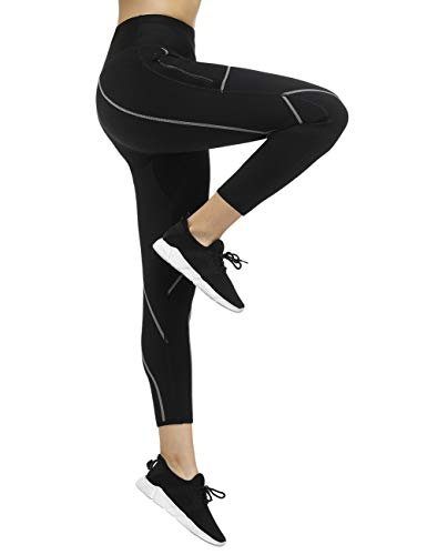 Hot Sweat Sauna Sweat Pants for Women Plus Size Women Weight Loss Hot Neoprene Sauna Sweat Pants with Side Pocket Grey M