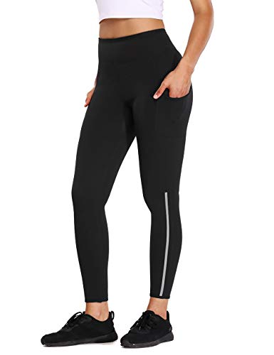 ALONG FIT Sauna Pants for Women Weight Loss with Side Pockets Reflective Strips Visible at Night Sweat Neoprene Pants Workout Leggings Body Shaper Thigh Slimming