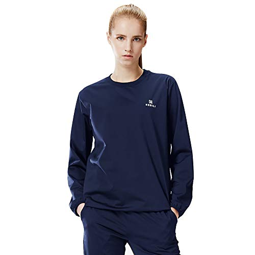 KEBILI Sauna Suit Top Women Weight Loss Gym Fitness Exercise Workout Sweat (Navy TOP, Top - L)