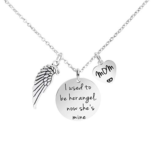 Personalized Memorial Necklace I Used to Be Her Angel Now She is Mine Remembrance Jewelry