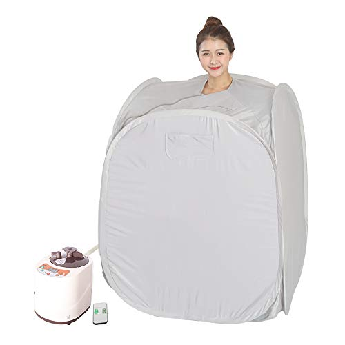 Smartmak Portable Steam Home Sauna Upgrade 2L Steamer, Lightweight Tent, One Person Full Body Spa for Weight Loss Detox Therapy (US Plug) -Grey
