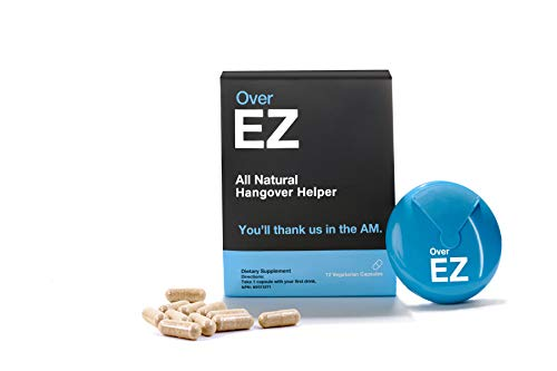 Over EZ Hangover Pill, 100x Strength Liver Detox, Hangover Cure & Prevention, 1 Pill Prevents 1 Hangover - Boosts Immunity While You Drink, Milk Thistle, L-Cysteine, Vitamin Bs and DHM (12 Servings)