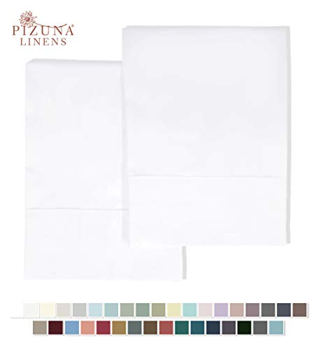 Pizuna 400 Thread Count Cotton Pillow Cases King White, 100% Long Staple Cotton Pillow Covers, Soft Satin Pillowcase King Size with Stylish 4 inch Hem (White King Cotton Pillowcases)