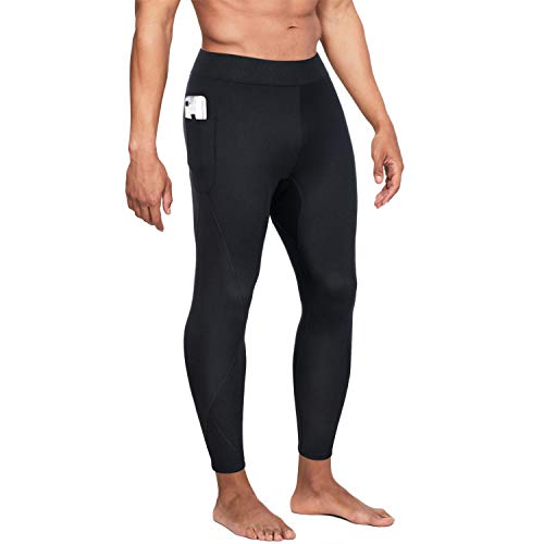 Wonderience Men Hot Neoprene Sauna Sweat Pants Slimming Body Shaper for Weight Loss Hot Thermo Leggings Workout Pants (Black, X-Large)