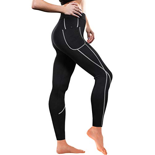 Women Weight Loss Hot Neoprene Sauna Sweat Pants with Side Pocket Workout Thighs Slimming Capris Leggings Body Shaper (Full Length Black, M)