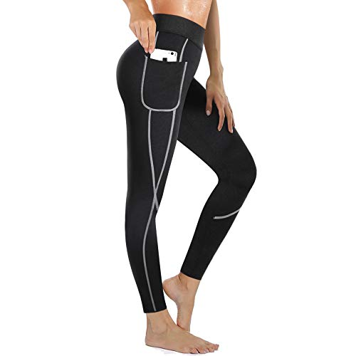 Rolewpy Women Sweat Sauna Weight Loss Hot Neoprene Pants Workout Fat Burner Thermo Slimming Leggings with Side Pocket (Black, Large (US 12))