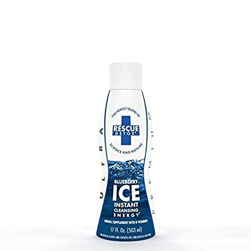 Rescue Detox ICE Blue Berry, Acai Berry, Raspberry (Blue) - 17 fl oz - Herbal Supplement with B Vitamins