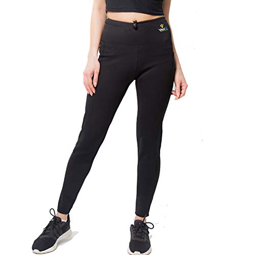 VeoFit Slimming Sweat Pants Size S Sauna Weight Loss Leggings for Women with Pockets – Tones and Helps Remove Excess Water for a firmer Skin and a Slimmer Silhouette and Thigh Black