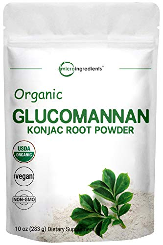 Micro Ingredients Organic Glucomannan Konjac Root Powder, 10 Ounce, Supports Regularity and Healthy Weight Management, Non-GMO and Vegan Friendly