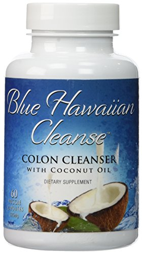 Blue Hawaiian Cleanse - Colon Cleanser with Coconut Oil - 60 vcaps | Professional Strength Formula Enhanced with Senna, Flax, Psyllium, Ginger and Black Walnut | Removes Intestinal Plaque with Mild Laxative Effect