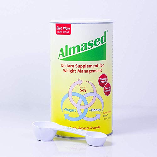 Almased Low-Glycemic High Protein Powder Shake Meal Replacement for Weight Management Non-GMO Plant-Based Protein, Gluten Free 17 oz (1 pack + official Almased Measuring Spoon)