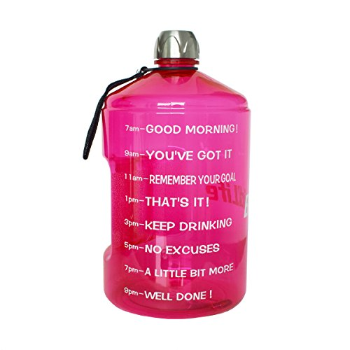 BuildLife 73OZ(2.2L) Water Bottle Motivational Fitness Workout with Time Marker/Drink More Daily/Clear BPA Free/Large Capacity Throughout The Day(Pink,73OZ)