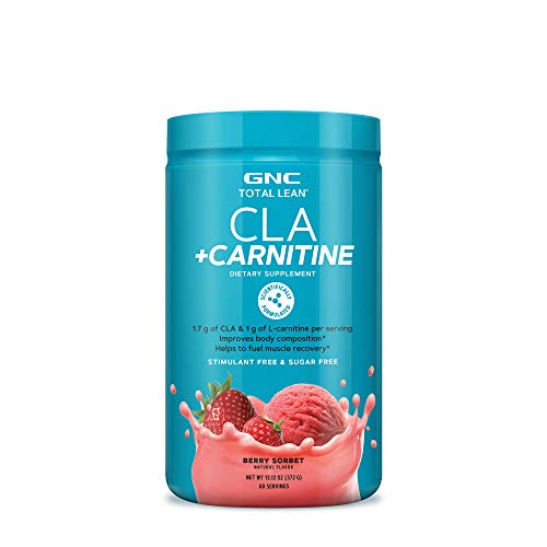 GNC Total Lean CLA + Carnitine - Berry Sorbet, 60 Servings, Improves Body Composition and Fuels Muscle Recovery