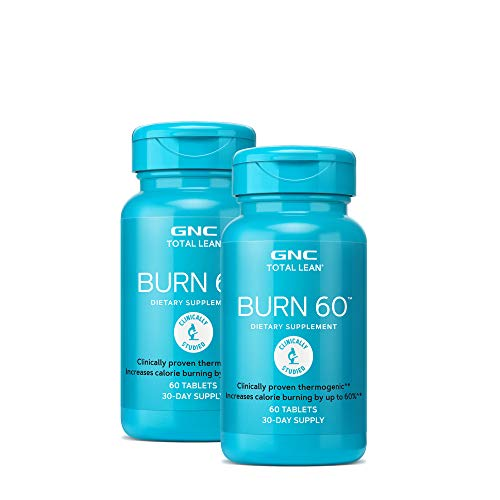 GNC Total Lean Burn 60, Twin Pack, 60 Tablets per Bottle, Increases Calor Burning