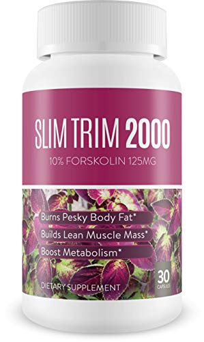 Slim Trim Weight Loss Supplement (Forskolin - Pure Coleus Forskohlii Root Powder) - Melts Belly Fat Fast & Supercharges Metabolism - 30 Capsules