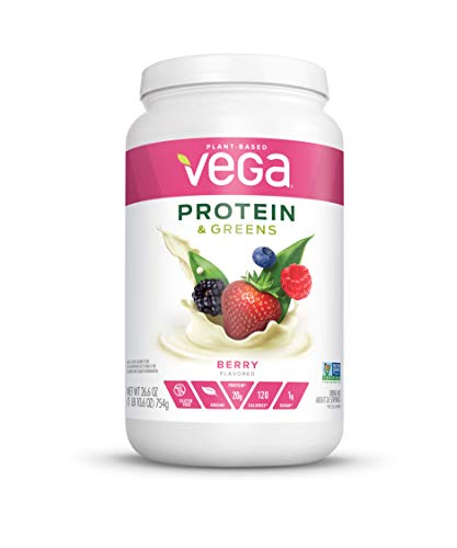 Vega Protein & Greens Berry (26 servings, 26.6 Ounces) - Plant Based Protein Powder, Keto-Friendly, Gluten Free, Non Dairy, Vegan, Non Soy, Non GMO, (Packaging may vary)