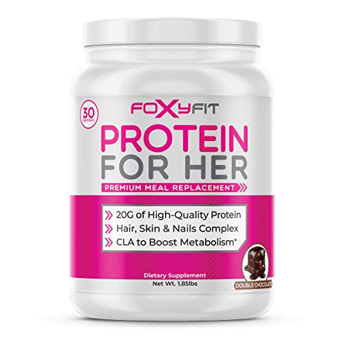FoxyFit Protein for Her, Double Chocolate Whey Protein Powder with CLA to Help with Weight Management and Biotin for Healthy Glow (1.85 lbs.)