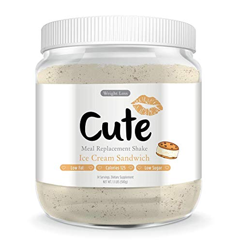 Cute Nutrition Ice Cream Sandwich Meal Replacement Shakes for Weight Loss Control & Energy for Women High Protein Low Calorie Low Sugar 17.63oz tub