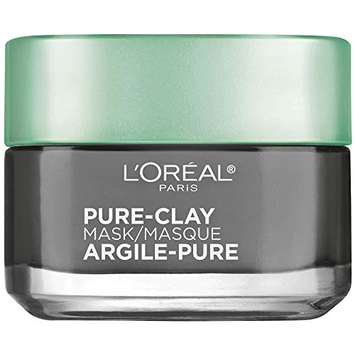 Clay Facial Mask, L'Oreal Paris Skincare Pure Clay Face Mask with Charcoal for Dull Skin to Detox & Brighten Skin, at home face mask, 1.7 oz.