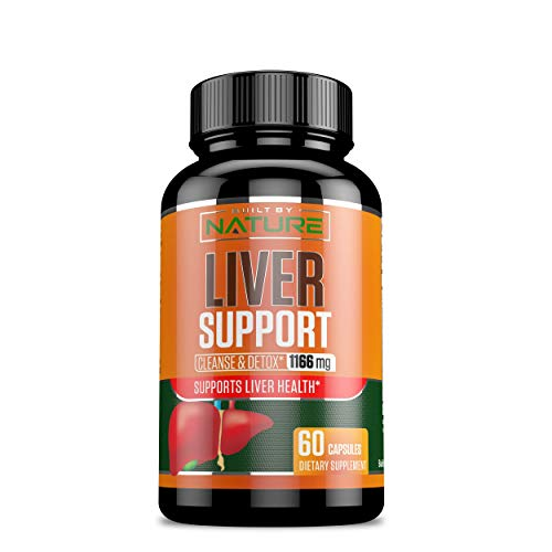 Liver Support - Cleanse Detox & Repair Formula – Detoxifier & Regenerator - 22 Herbs Support Supplement: Milk Thistle Extracts Silymarin, Beet, Artichoke, Dandelion, Chicory Root – Built By Nature