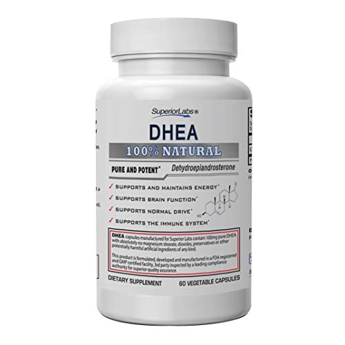 Superior Labs – Extra Strength Natural DHEA – Non-GMO 100 mg Dose, 60 Vegetable Capsules – Promotes Healthy Aging in Men & Women – Helps Restores Youthful Energy Levels