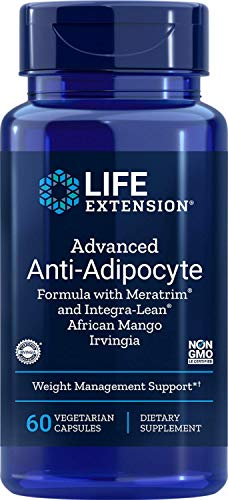 Life Extension advanced Anti-Adipocyte Formula with meratrim and IntegraLean, African Mango Irvingia 60 Vegetarian Capsules