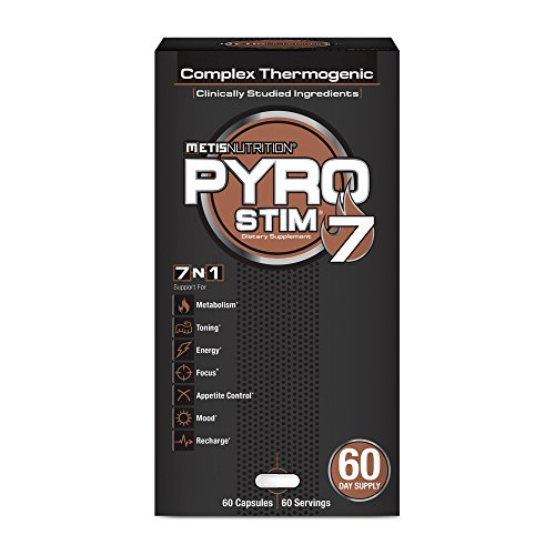 METIS Nutrition Pyro Stim 7 - Once-A-Day Thermogenic with Teacrine for Energy, Focus, Appetite Control - Increase Metabolism, Muscle Toning and Maintenance - 60 Capsules