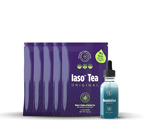 Total Life Changes Control Kit, IASO Natural Herbal Detox Tea Bags (5 packs-2 each) & Resolution Drops for Cut Cravings & Lose Weight