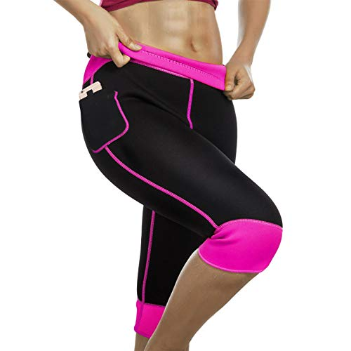 Womens Weight Loss Hot Neoprene Sauna Sweat Pants with Side Pocket Workout Thighs Slimming Capris Leggings Body Shaper (Black-Pink, XL)