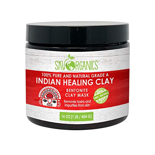 Sky Organics Indian Healing Clay Face Mask 100% Pure & Natural Bentonite Clay Therapeutic Grade - Face Skin Care Deep Skin Pore Cleansing, Detoxifying, For Acne, Vegan, Cruelty Free, Made in USA 1lb