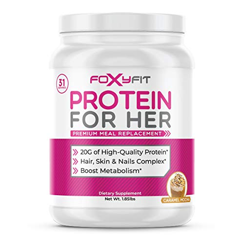 FoxyFit Protein for Her, Caramel Mocha Whey Protein Powder with CLA to Help with Weight Management and Biotin for Healthy Glow (1.85 lbs.)