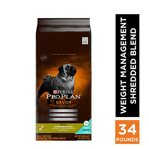 Purina Pro Plan Weight Management Dry Dog Food, SAVOR Shredded Blend Weight Management Formula - 34 lb. Bag, PRO PLAN AdltShBlnd Wt Mgnt