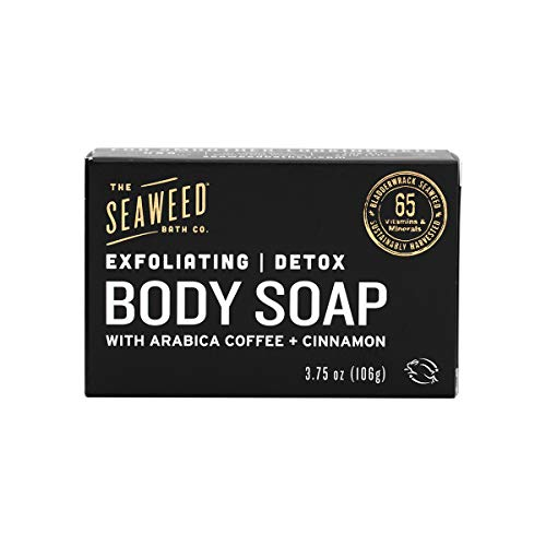 The Seaweed Bath Co. Exfoliating Detox Body Soap, Unscented, Natural Organic Seaweed, Coconut Oil, Vegan, Paraben Free, 3.75 oz., 1 Pack