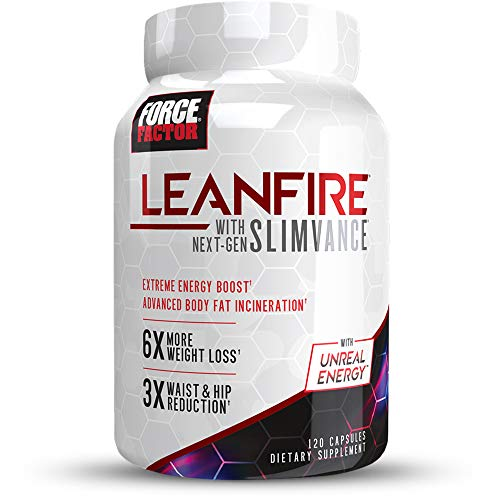 Force Factor LeanFire with Next-Gen Slimvance, Advanced Thermogenic Fat Burner, Extend Elevated Energy & Endurance, Enhance Focus & Mental Clarity, 120 Count, White