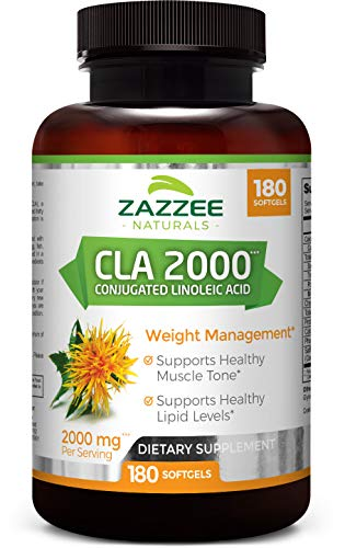 Zazzee CLA, 2000 mg, 180 Softgels, High-Potency Conjugated Linoleic Acid, High Dosage for Weight Management