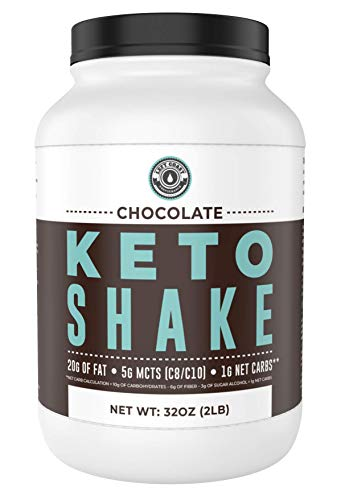 Keto Meal Replacement Shakes [Chocolate, 2lbs], Low Carb Keto Protein Shake Mix | MCT Powder, Grass Fed Hydrolyzed Collagen Peptides, Keto Breakfast Shake, 20g fat, 14g protein, 1 Net Carb, Zero Sugar