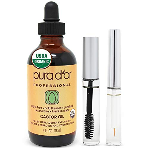 PURA D'OR Organic Castor Oil (4oz) 100% Pure Natural USDA Organic: Conceal Thin, Reveal Fuller Eyebrows, Thicker Eyelashes, Hair Growth: Cold Pressed Hexane Free-Moisturize Dry Skin w/Bonus Brush Kit